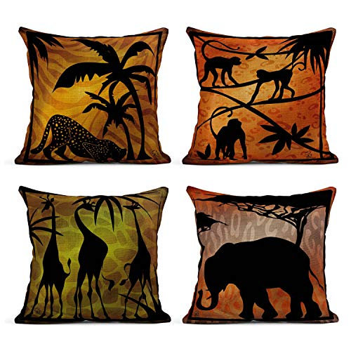 Tarolo Set of 4 Linen Throw Pillow Cover Case Safari Silhouette Silhouettes Tropical Africa Decorative Pillow Cases Covers Home Decor Square 18 x 18 Inches Pillowcases