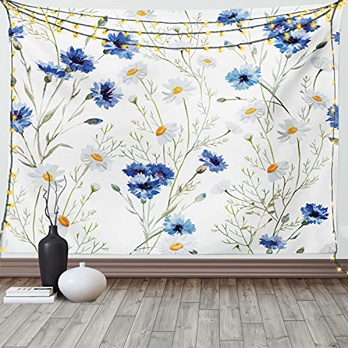 Ambesonne Watercolor Flower Tapestry, Wildflowers and Cornflowers Daisies Blooms Flower Buds, Wide Wall Hanging for Bedroom Living Room Dorm, 60' X 40', Green Marigold