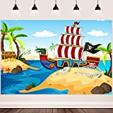 Pirate Background FHZON 7x5ft Sailboat Coconut Tree Treasure Skeleton Island Backdrop for Photograph Theme Party Groovy Party Decorations Video Studio Props BJLHFH701