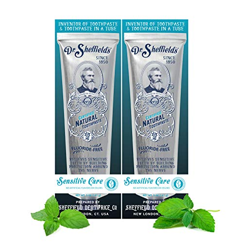 Dr. Sheffield's Certified Natural Toothpaste (Sensitive) - Fluoride Free Toothpaste/SLS Free, Antiplaque & Whitening (2 Pack)
