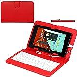 Navitech Rot bycast Leder Stand mit deutschem QWERTZ Keyboard mit Micro USB für das Odys Space 10 Plus