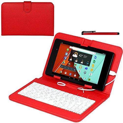 Navitech Rot bycast Leder Stand mit deutschem QWERTZ Keyboard mit Micro USB für das Huawei Mediapad X2 Tablet-PC