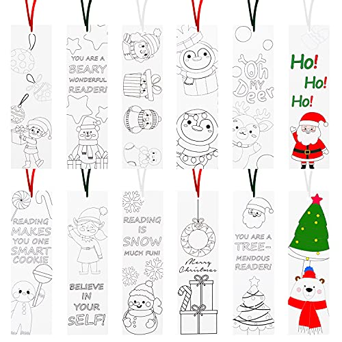 Haooryx 75Pcs ChristmasColorYourOwnBookmarks, Kids DIY Coloring Blank Bookmarks Xmas Party Game Prize Art Craft Supplies ChristmasGoodie Bag Fillers Classroom Reading Club Rewards