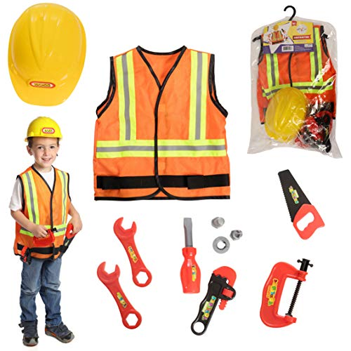 DRESS 2 PLAY Contractor Pretend Costume with Hard Hat, 9 Piece Dress up Set with Accessories