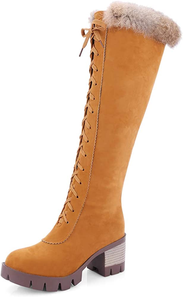 Vimisaoi Womens Knee High Finally resale start Boots Block Max 62% OFF Fur Heels Zipper Mid Plat