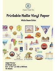 HAYES PAPPER Vinylklistermärke papper för bläckstråleskrivare – 15 matt vit vattentät dekal pappersark