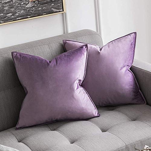 MIULEE Pack of 2 Decorative Velvet Throw Pillow Cover Soft Pillowcase Solid Square Cushion Case for Sofa Bedroom Car 16x16 Inch Violet