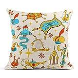 Cojín Cuento de hadas Historia de Aladdin Genio de Jinn Lámpara mágica dorada Como alfombra voladora Cofre del tesoro Arpa de mago Sombrero de turbante Cojín de lino Almohada decorativa para el hogar
