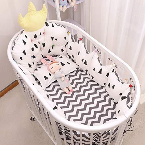 AIBAB Kinderbett Bettwäsche-Set Rundes Bett Elliptisches Bett Bettbezüge Antikollision Abnehmbar Und Waschbar Baumwolle Bettdecke Bett Stoßstange 120×60