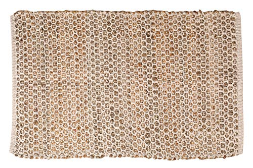 Jute Cotton Rug 2x3' Natural - Hand Woven Farmhouse Style for Living Room Kitchen Entryway Rug,Kitchen Rugs, Farmhouse Rugs, Rugs for Living & Bedroom,Woven Rugs