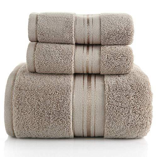 Juego de Toallas de baño de algodón Zero Twist baño de Hotel, Peso Pesado y Absorbente, Juego de Toallas de baño 3-1 y 2 Toallas de Mano, marrón