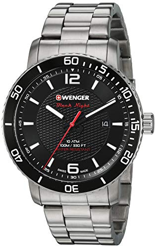 Wenger Men's Roadster Black Night Swiss-Quartz Stainless-Steel Strap, Silver, 22 Casual Watch (Model: 01.1841.104)