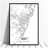 MZYZSL Recife Brasilien Kanada Schwarz Weiß Karte Poster