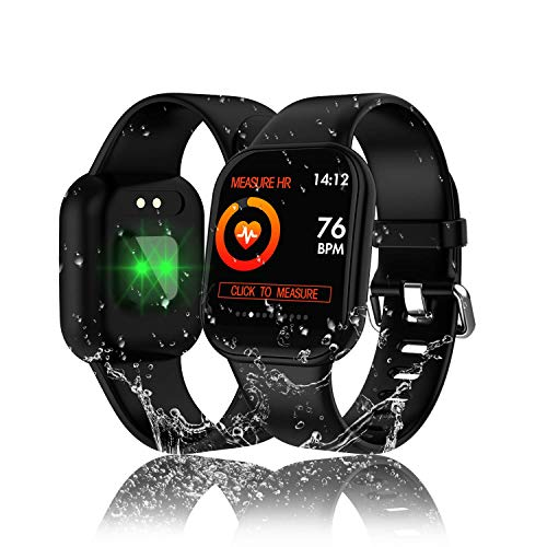 Tipmant Smartwatch, Fitness Armband mit Pulsmesser Blutdruckmessung Voller Touchscreen Fitness Tracker Wasserdicht ip68 Fitness Uhr mit Schrittzähler Smart Watch für iOS Android Damen Herren Kinder
