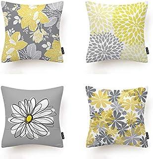 MMTY 4 Piezas Funda de cojín Patrón Floral Gris Y Amarillo cojín Cubierta Sofá Coche Dormitorio Decoración Hogar Cojín Cojín Cubierta De Cojín