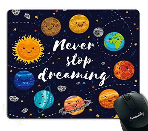 Smooffly Quotes Gaming Mouse Pad, Cute Outer Space Planets and Star Cluster Solar System Moon and Comets Sun Cosmos Illustration Mouse Pad, 9.5 X 7.9 Inches
