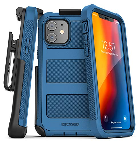 Encased Falcon Armor Compatible with iPhone 12 Mini Case with Screen Protector and Belt Clip Protective Full Body Cover with Built-in Screen Guard and Holster - Blue