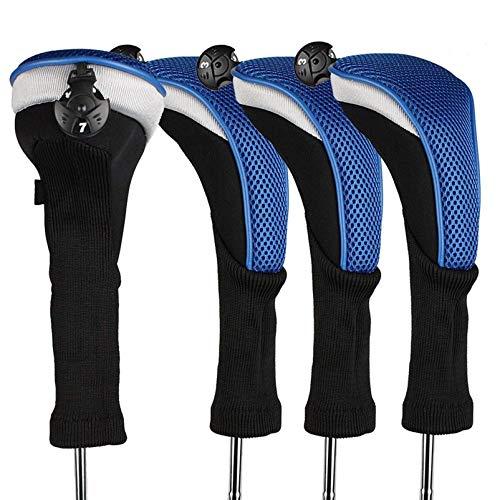 FINGER TEN Golf Headcover Schlägerhaube Holzkopfhüllen Woods 4 Pcs/Set Langer Hals Austauschbar No.Tag 3 4 5 7 X Rot Blau Schwarz Für Herren Damen (BLAU)