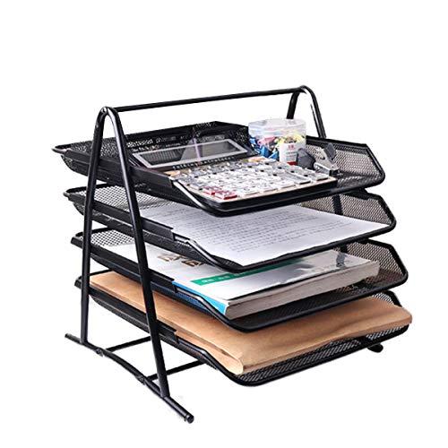 Bandeja de documentos apilables, caja de cajones deslizantes de 4 niveles, estante para archivos, escritorio, papelería, organizador, organizador de entrada ancha, clasificador para oficina - negro