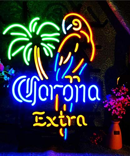 Big Coconut Tree Parrot FINEON Real Glass Neon Light Sign Home Beer Bar Pub Recreation Room Game Lights Windows Glass Wall Signs Party Birthday Bedroom Bedside Table Decoration Gifts (Not LED)
