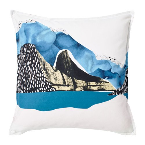 Ikea Cushion cover, white/black, blue 20x20 '