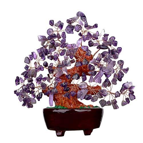 Quartz Purple Crystal Money Tree Bonsai Feng Shui Treasure (Auspicious) Crystal Tree Bonsai Decoration