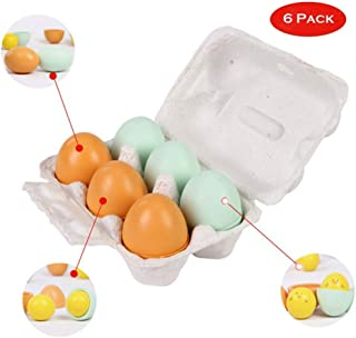 Liberty Imports 6 PCS Wooden Faux Fake Eggs in Carton - Pretend Play Realistic Kitchen Toy Food (Duck and Chicken)