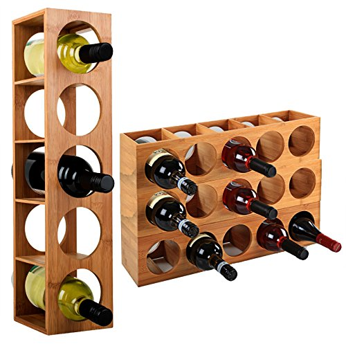 WOLTU Bambus Weinregal Weinflaschenregal für 5 Flaschen Stapelbar RG9260br-a