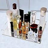 Mirror Perfume Tray Vanity Decorative Tray for Dresser, Bathroom Counter Tray Decorative Jewelry Tray Perfume Organizer Makeup Tray for Vanity, Dresser, Bathroom, Bedroom Waterproof Silver