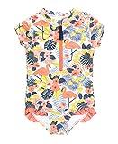 RuffleButts Girls Tropical Flamingo Short Sleeve One...