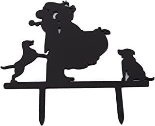 VWH Unique Wedding Cake Topper Bride and Groom Silhouette with 2 Dog,Black