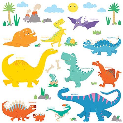 DECOWALL DW-1703 Dinosaurio Colorido Vinilo Pegatinas Decorativas Adhe