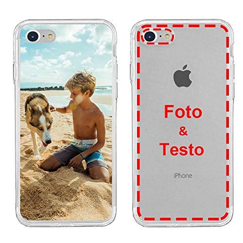 MXCUSTOM Cover Personalizzata per Apple iPhone 7/8 / SE 2020, Custodia Personalizzate con Foto Immagine Testo Design Crea Le tue [Morbido Trasparente TPU] (FXT-CR-P1)