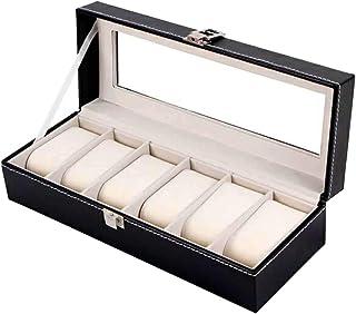 صندوق لحفظ المجوهرات والساعات للرجال، 6 حجرات، من الجلد، صندوق للتنظيم، اسود OSBZ12