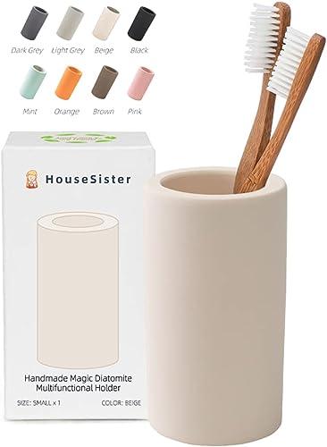 HouseSister Organic Diatomite Toothbrush Toothpaste Makeup Brushes Razors Holder Bathroom Countertop Organizer Stand ...