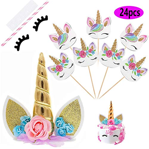 Unicorn Cake Topper with Eyelashes and 24 Pieces Double Sided Unicorn Cupcake Toppers set for Birthday Party Supplies, Wedding, Baby Showe