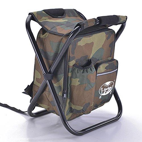 Minions Boutique Portable Pliante Chaise de pêche Pêche Cooler Chaise de Stockage Sac à Dos pour Pique-Nique Camping de Voyage Pêche Tabouret Taille Unique Camouflage