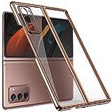 Miimall Kompatibel mit Samsung Galaxy Z Fold 2 Hülle, [mit Kamera Cover] Transparent Galvanisieren Hartes PC Handyhülle Anti-Gelb Kratzfest Bumper Hülle für Samsung Galaxy Z Fold 2 5G 2020 - Rosa