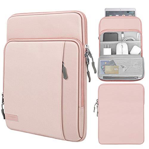 MoKo 9-11 Inch Hülle, Polyester Schutzhülle Multifunktion Tablet Tasche Organizer Kompatibel mit iPad 8 10.2, iPad Air 4 10.9, iPad Pro 11, iPad Air 3 10.5, iPad 10.2 2019, iPad Pro 10.5, Rosa