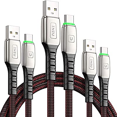 USB C Cable, [3 Pack] INIU 3.1A QC Fast Charging Type C Phone Charger, (0.5+1+2m) Zinc Alloy USB A to C Cables Compatible with Samsung Galaxy S20 S10 S9 S8 Note 10 Huawei P30 P20 Xiaomi OnePlus etc.