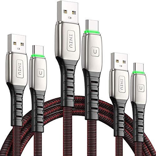 Cavo USB Type-C, INIU [3 Pezzi 0,5+1+2m] Cavo USB C Ricarica Rapida 3,1A QC3.0 Cavo Tipo C in Lega di Zinco Cavi Dati Compatibili con Samsung S21 S20 S10 Plus LG Google Pixel Huawei Xiaomi OPPO ECC.
