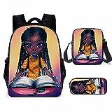 APHT African-American Black Girl impresión Mochila+ Messenger Bag + Bolsa de lápiz set de 3 en 1 Mochila del Negocio Trabajo Diario Viaje Escolares,Para los estudios, viajes o trabajo