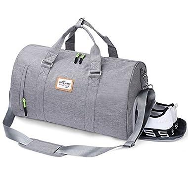 Rocoke Travel Duffel Bag Large Luggage Sports Gym Portable Weekend Bag with Shoe Bag (Grey)
