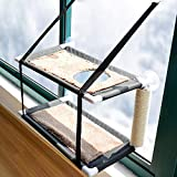 XianghuangTechnology Cat Window Hammock Perch Cat Bed Kitty Sunny Seat Double Layers Pet Perch With Scratching Post, 6 Suction Cups Holds Up to 22lbs (Double Layers)