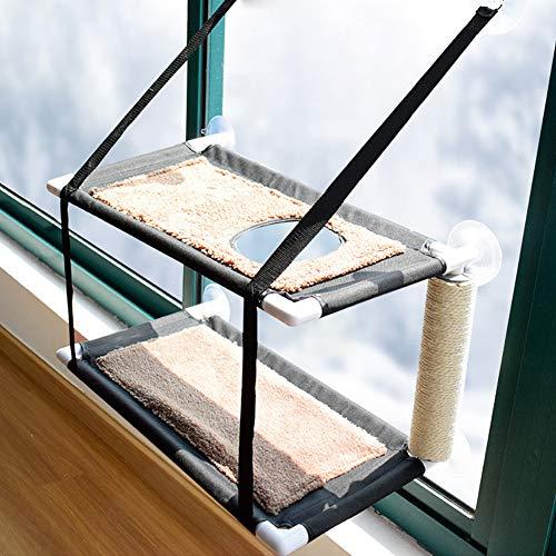 XianghuangTechnology Katzen-Fenster-Hängematte Sitzstange Katzenbett Kitty Sunny Sitz Doppellagige Haustier-Sitzstange mit Kratzbaum, 6 Saugnäpfe, hält bis zu 10 kg (doppellagig)