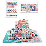 TEENLEE 115 Pcs Wooden City Building Blocks Set Color Architecture Toddler Blocks for 1 2 3 Years Old Boys Girls Kids with 20 Pieces Floor Jigsaw Puzzle and Storage Bag