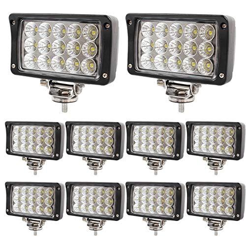 BRIGHTUM 10 X 45W LED Offroad Arbeitsscheinwerfer weiß 12V 24V Reflektor worklight Scheinwerfer Arbeitslicht SUV UTV ATV Arbeitslampe Traktor Bagger LKW KFZ (10 Stück)