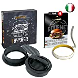 The Burger Deluxe Hamburger Pressa - Molde para hamburguesas y tortuga Gourmet con molde de huevo de silicona y libro