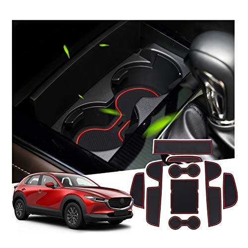 SHAOHAO für Mazda CX-30 2019+ Gummiauflage, Mittelkonsole Antirutschmatten, Getränkehalterauflage, Türnahtauflage(Rot)