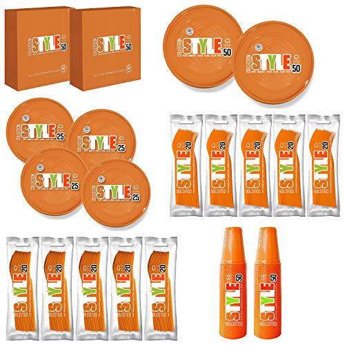 T&M Group Srl Kit Party Festa Compleanno Arancione Bambino Bambina stoviglie plastica monouso Posate Bicchieri tovaglioli Piatti (100)